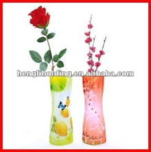 collapsible reusable clear plastic folding vase