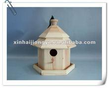 small hexagonal wooden pavilion bird house