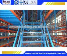 raised steel storage mezzanine floor rack system