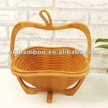Eco-friendly and duralbe foldable apple shape bamboo fruit basket