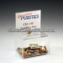 Personalizzati plexiglass moneta scatola di immagazzinaggio/risparmio dei soldi scatola