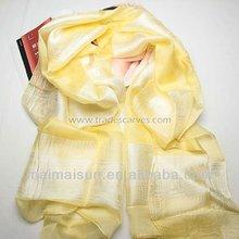 2014 new fashion long women jacquard yellow silk scarf