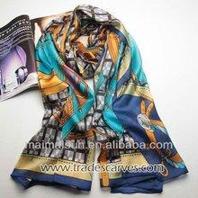 2015 women long floral print desiger pure silk scarf wrap