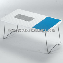 adjustable laptop table with USB fan made of hard plastic