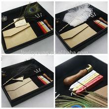 2014 gift pen set, ostrich feather dip pen set for promotion