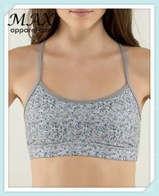 Soft and supple flow y print sprot bra wholesale made in china