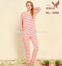 Elegance two - piece Striped women's Cotton sexy pyjamas set for sleep dresses