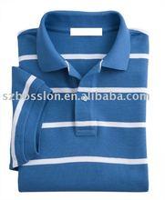 Men 100% cotton Yarn dye white and blue striped Polo shirt