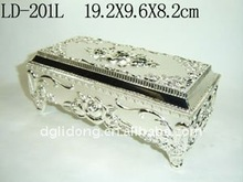 Fashion Rectangular Silver Shiny Alloy Jewelry Case