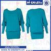 2014 Wide ribbing hem dolman sleeve fashion design lady blouse made in china Shanghai