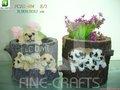 Cão Polyresin figurine escritório vasos de flores
