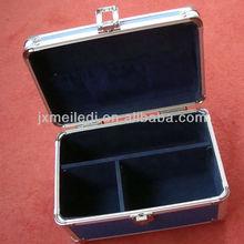 Blue standard enough large aluminum first aid case kit dividers velvet lined MLD-FAC07