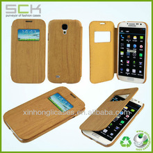 wood case with view window fit for Samsung Galaxy S4 flip cover