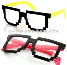 Futuristic Novelty Nerd Geek Gamer Colorful 2-Tone Clear Lens Pixel Glasses