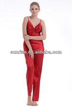 Rojo 100% trenzado de poliéster satinado pijama de la mujer