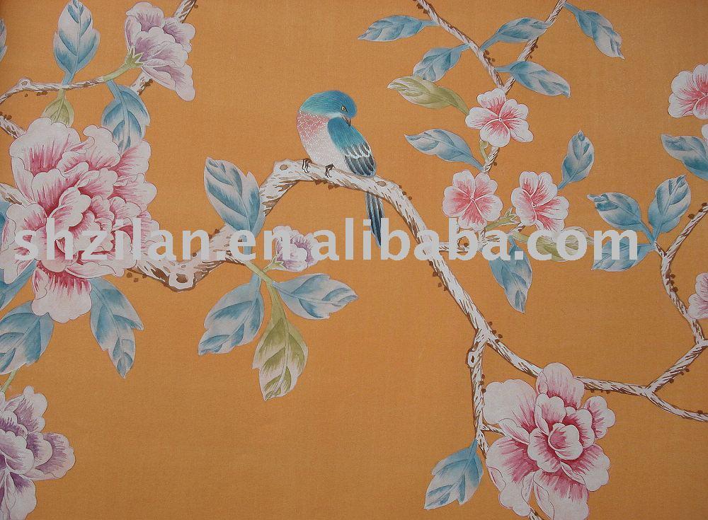 Chinesische Seidentapeten : Hand Painted Chinese Wallpaper