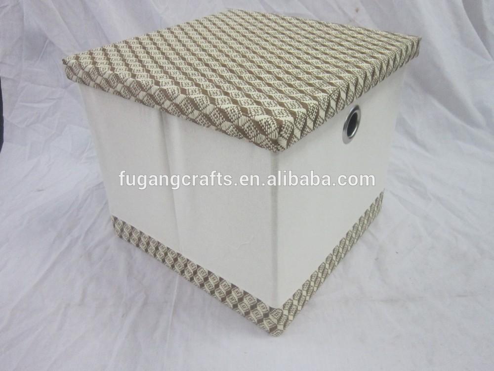 set 3 faltbaren papier und stoff aufbewahrungsbox mit deckel. Black Bedroom Furniture Sets. Home Design Ideas