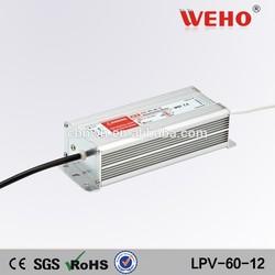 60w 5a constant voltage waterproof ip67 led driver for led strip lights 12v led driver
