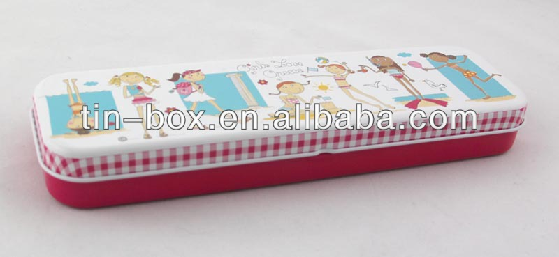 Metal tin pencil box stationery pencil case