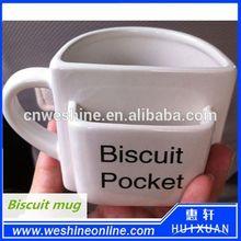 Hot selling white porcelain cookie mug / coffee biscuit mug