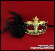 2012 Hot Item Black And Gold Halloween Feather Masquerade Masks Party Supplies