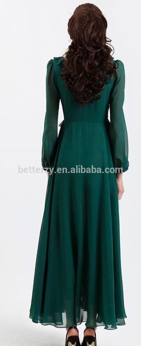 2015 muslimah jubah dress with 2 layers composite silk designs KJ-WAB7057