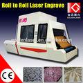 Rouleau à rouleau de tissu machine de gravure laser pour l'industrie textile, de velours, denim, tissu, flanelle