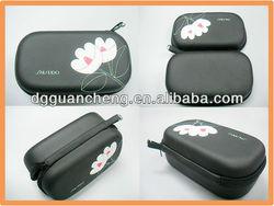 (GC-COS-02) New black PU beautiful flower printing EVA cosmetic bag