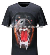 New 3D Luminous Men's Dog 3D T-shirt Short Sleeve Round Neck T-shirt