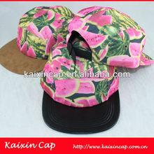 Custom Design 5 Panel Cap Watermelon Pattern Camp Cap