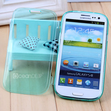 New product transparent TPU flip cover clear case for Samsung galaxy S3 i9300 flip case in Guangzhou