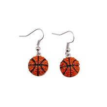 Sport Basketball Crystal Rhinestone Drop Dangle Fashion Earrings