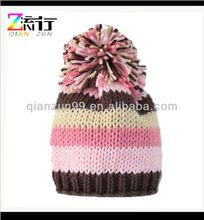 Childs Beanie Knitting Hats With Pom Pom