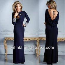 Elegant Spandex Sheath Floor Length Long Sleeve with Beads Embellished Stunning Mother of the Bride Dresses