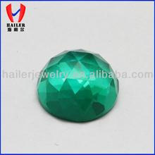 Round Faceted Cut Flat Bottom Glass Gemstone