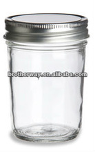 Mason Tapered Glass Jar 8 oz w/ Silver Lid,Wide mouth glass maosn jar
