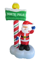 Christmas inflatable Santa NORTH POLE guide board
