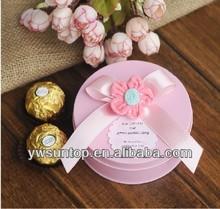 Handmade heronsbill round metal gift box for wedding favors