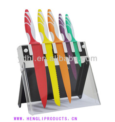 color non-stick coated blade kitchen knife set with acylic stand