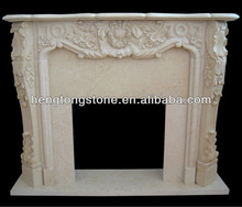 Egypt Beige Marble Floral Carving Fireplace Mantle