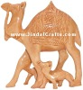 Handcrafted Wooden Camel Family - Animal Sculpture Art Souvenir Wooden Craft