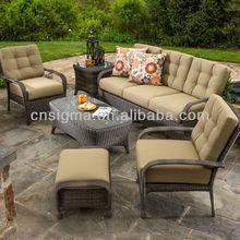 2015 Luxury living Outdoor furniture Wicker 6pcs Sofa Conversation Set