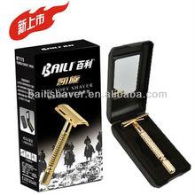 Classic metal razor handle with plastic razor case