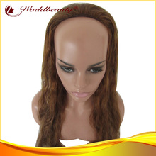 2013 new style wholesale fahsion half wig 100% human hair 18'' blonde color wavy med cap tangle free machine glueless 3/4 wig