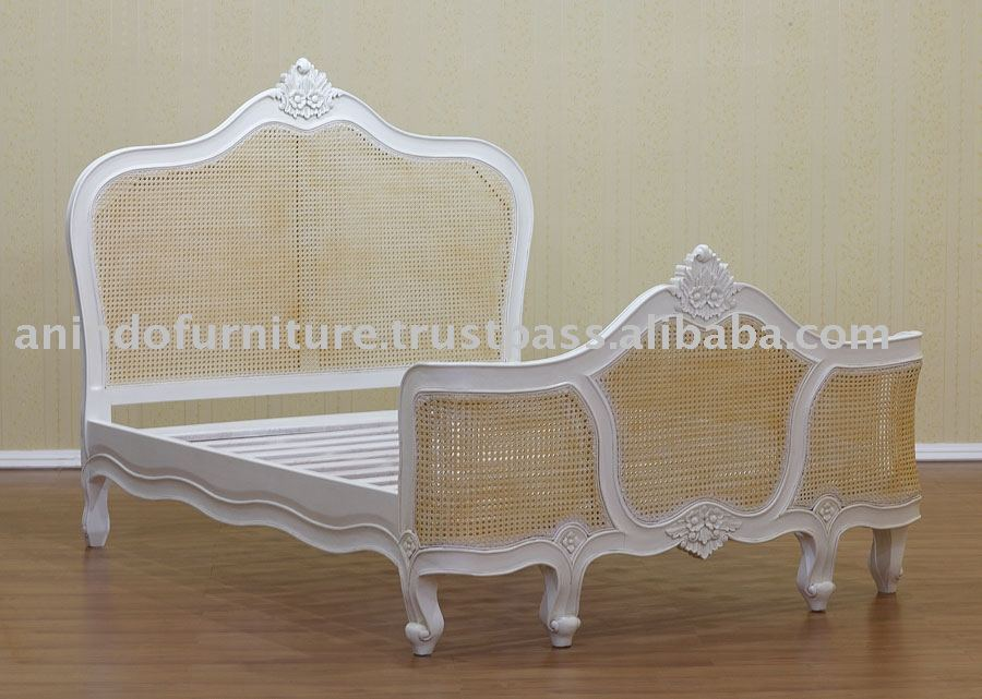 White Painted Furniture - French Bed With Rattan Photo, Detailed