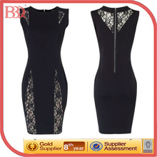 2014 New Women Trendy Lace Floral Hollowed Out Sleeveless Bodycon Slim Cocktail Evening Dress