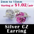 925 Sterling Silver CZ earrings: Cubic Zirconia jewelry