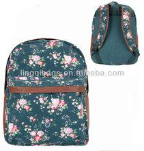 2013 Fashion Korean Vintage Women Floral Canvas Backpack Bag