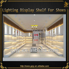wall mounted LED lighted wooden shoes display panel for shoes store interior design