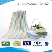 Light Yellow&Blue Stripe Printed Brushed Promotional Polar Fleece Throw/Blanket